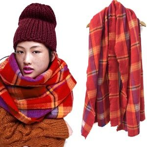 Zara Red Plaid Large Oversized Scarf Shawl